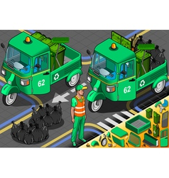 Isometric garbage rickshaw in front view vector