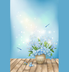 Spring blue flowers dragonflies on wood background vector