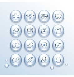 Medical icons set in drops vector