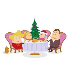 Family celebrating christmas isolated vector