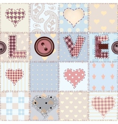 The word love in patchwork style vector