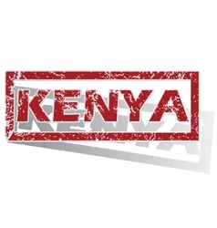 Kenya outlined stamp vector