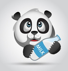 Icon panda with milk vector