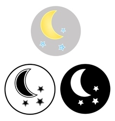 The moon and stars icons vector