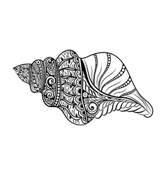 Zentangle stylized black sea cockleshell vector image