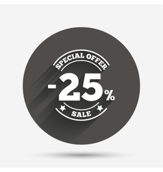 25 percent discount sign icon sale symbol vector
