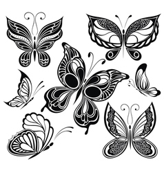 Black and white butterflies vector image