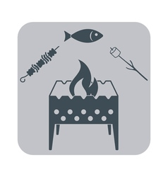Brazier zephyr fish and kebab icon vector
