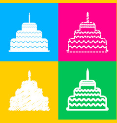 Cake with candle sign four styles of icon on four vector