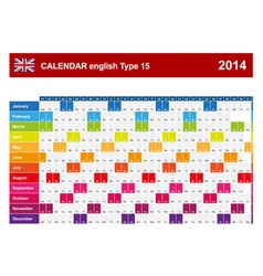 Calendar 2014 English Type 15 vector image vector image