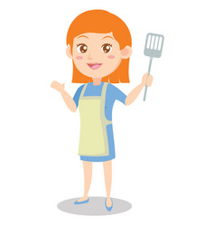 Character of housewife cooking design vector