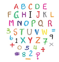 Child drawing of alphabet font made with wax crayo vector