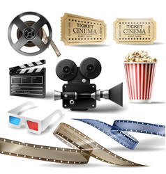 cinema clipart of 3d realistic objects vector image