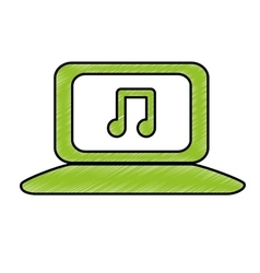 Computer with music icon image vector