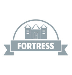 Emblem fortress logo simple gray style vector