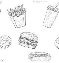 Fast food seamless pattern hand drawn sketch vector