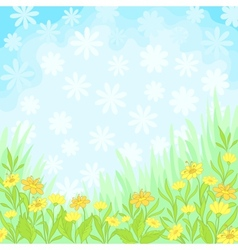 Flowers and sky background vector image vector image