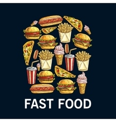 French fries symbol made up of fast food dishes vector