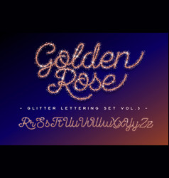 Glitter rose gold handwritten alphabet vector