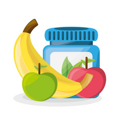 Healthy pills treatment and delicious fruits vector
