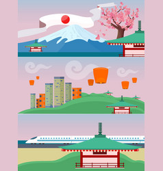 Japan travelling banner japanese landmarks vector