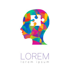 Modern human silhouette head with puzzle vector