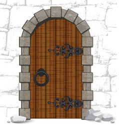Old wooden vintage doors with stones vector