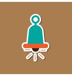 Paper sticker on stylish background bell ringer vector