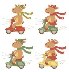 Scootering deers set vector image
