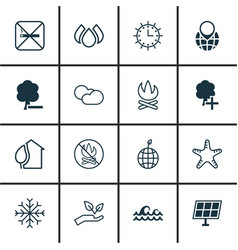 Set of 16 ecology icons includes bonfire home vector