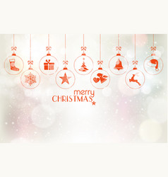 set of hanging christmas baubles over silver vector image