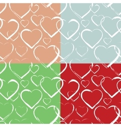 Set of Hearts Seamless Pattern vector image vector image