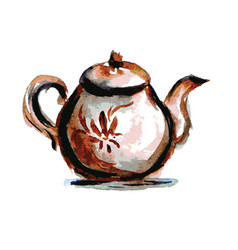 teapot on white background watercolor vector image