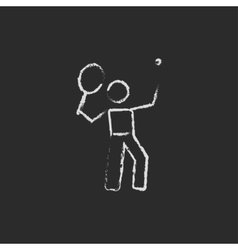Tennis player icon drawn in chalk vector image vector image