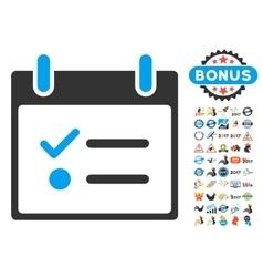 Todo list calendar day flat icon with bonus vector