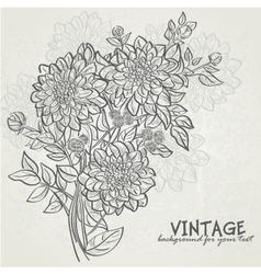 Vintage background with flowers dahlias vector image vector image