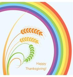 wheat ears and rainbow vector image