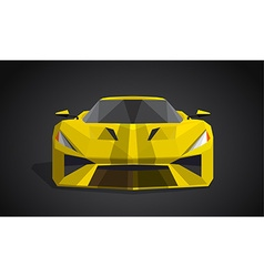 Yellow sport car on grey background - polygonal vector