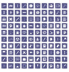 100 learning icons set grunge sapphire vector