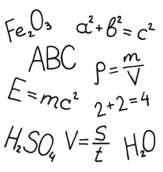 Hand drawn formulas set vector
