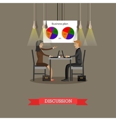 Business discussion in office with financial pie vector
