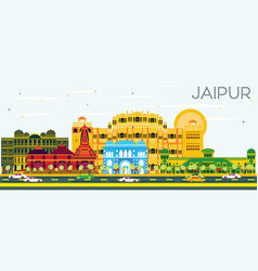 Jaipur skyline with color buildings and blue sky vector