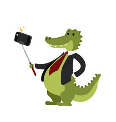 Funny picture crocodile photographer mamal person vector