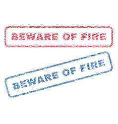 Beware of fire textile stamps vector