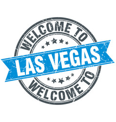 Welcome to las vegas blue round vintage stamp vector