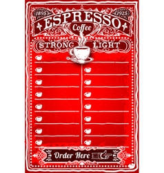 Vintage Hand Drawn Board for Espresso Menu vector image