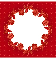 Red flowers frame vector