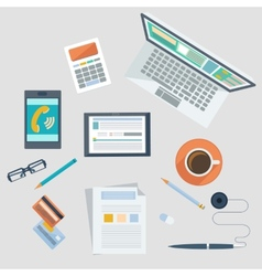 Concept of workplace with office devices and items vector