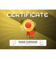 Gold certificate layout vector