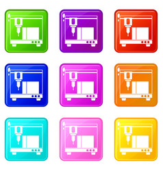 3d printer icons 9 set vector